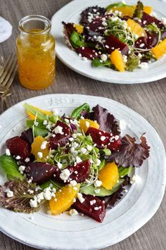 My new obsession is Beet Salad with Goat Cheese and Orange Vinaigrette Dressing. The bright orange dressing, creamy goat cheese crumbles and earthy beets were made for each other. The perfect blend of flavors! Beet Goat Cheese Salad, Roasted Beet Salad, Beet Salad Recipes, Salad Recipes For Dinner, Dinner Salads, Healthy Recipes, Kale Salads, Healthy Dinners, Fresh Beets