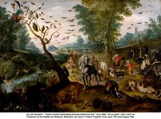 """Jan van Kessell II - """"Noah's Family Assembling Animals before the Ark"""", circa 1660 - Oil on panel - 65.4 x 94.5 cm. Collection of the Walters Art Museum, Baltimore. On view in """"Public Property"""" from June 17th until August 19th."""