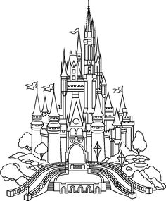 Castle of Disney World Line Drawing
