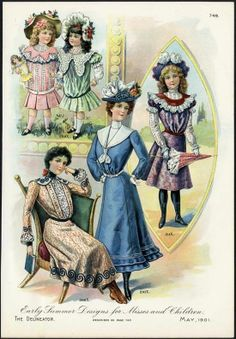 YOUNG GIRLS & LADIES Fashion Print 1901 - Chromolitho - VICTORIAN - SPRING