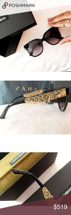 Runway Lazercut Oversized Sunglasses Authentic. Super chic oversized rounded square shape. Grey/pink gradient non-polarized lens. Fabulous gold lazercut baroque detailing on arms. Made in Italy. Includes box, velvet case, dustbag, paperwork/ care cards. No scratches or blemishes. *I personally style all pics, NO modeling* NO TRADE. Bundle & save more✅ Dolce & Gabbana Accessories Sunglasses