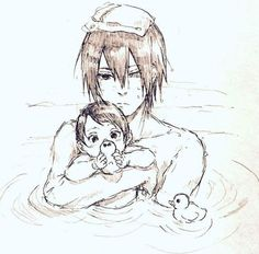 Father Sasuke uchiha  Sarada uchiha   young  childhood