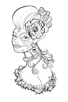 free printable day of the dead coloring pages by heather fonseca coloring stress - Cinco De Mayo Skull Coloring Pages
