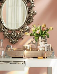 Our {Louis Wall Mirror} looking extravagant with girly touches // @Home Decorators Collection