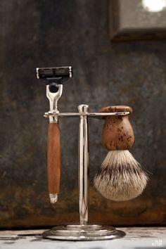 Razor and boar bristle brush