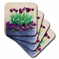 3dRose Potted Purple Tulips, Ceramic Tile Coasters, set of 4