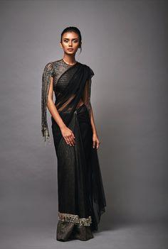 Adorne Fringed Blouse Drape Sari - Ready To Ship Churidar, Anarkali, Lehenga, Salwar Kameez, Kurta Designs, Blouse Designs, Saree Gown, Chiffon Saree, Indian Designer Outfits