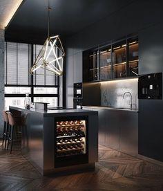 Dark Apartment in Moscow - Dezign Ark (Beta) - Modern Kitchen Kitchen Room Design, Luxury Kitchen Design, Home Decor Kitchen, Kitchen Furniture, Black Kitchens, Home Kitchens, Luxury Kitchens, Loft Interior Design, Interior Colors