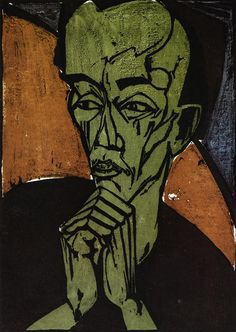 Erich Heckel (German, 1883-1970). Self portrait, 1919