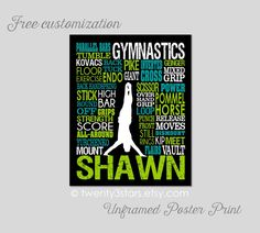 Men's Gymnastics #2 Typography Art Print, Boy's Room Art, Choose the Colors, Personalized Gift for any Gymnast, Gymnastics Team or Coach by twenty3stars on Etsy