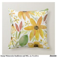 Sunny Watercolor Sunflower and Wildflowers Throw Pillow