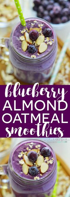 Blueberry Almond Oatmeal Smoothies Blueberry Almond Oatmeal Smoothies (gluten free, dairy free, high protein) from What The Fork Food Oatmeal Smoothies, Healthy Smoothies, Healthy Drinks, Healthy Snacks, Healthy Sugar, Protein Oatmeal, Smoothies For Lunch, Heathy Lunch Ideas, Vegan Oatmeal