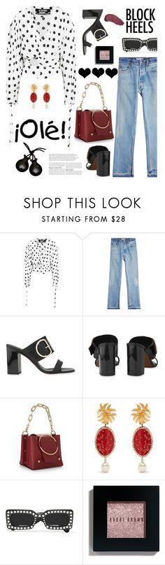 """""""Step Up: Block Heels"""" by hamaly ❤ liked on Polyvore featuring Jacquemus, RE/DONE, Yuzefi, Dolce&Gabbana, Bobbi Brown Cosmetics, Kat Von D, outfit, ootd and blockheels"""