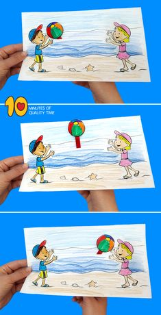Kids Playing Ball on the Beach Craft Sommer basteln Summer Crafts For Toddlers, Summer Kids, Crafts For Teens, Toddler Crafts, Preschool Crafts, Diy For Kids, Activities For Kids, Craft Kids, Umbrella Coloring Page