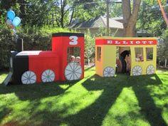 play train from boxes. Great idea for a birthday party! @Kelcie Greisen @Ashley Burdick @Danielle Rabinowitz-Borrow