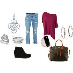 """Fall Fashion: Oversized Tee & Boyfriend Jeans"" by nicole-gordon-phillips on Polyvore"
