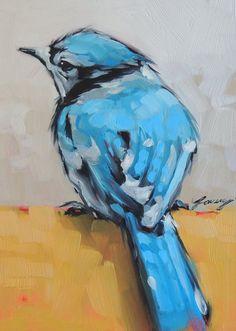5 X 7 pouces original peinture à l'huile d'un Geai par LaveryART