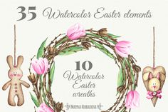 Watercolor Easter collection by Maryna on @creativemarket