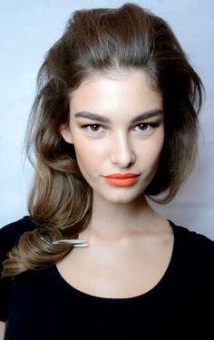 Ophélie Guillermand   DSQUARED2 backstage   make-up   eye brows   Tangerine Lip color