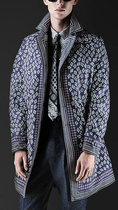 Burberry Prorsum Geometric Diamond Print Caban Overcoat