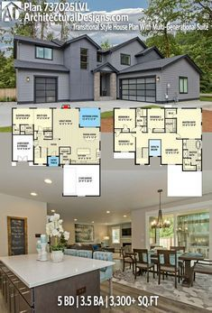 Plan 737025lvl Transitional Style House Plan With Multi Generational Suite House Plans Farmhouse Plans Dream House Plans