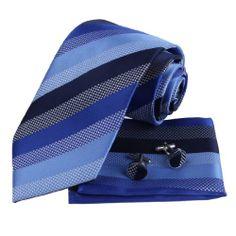 Black Blue Stripes 100% Silk Tie Cufflinks for Men and Handkerchiefs Set with Presentation Box PH1022 One Size Blue Epoint,http://www.amazon.com/dp/B002C1FCSU/ref=cm_sw_r_pi_dp_WpUEtb1C8WQPVH2X