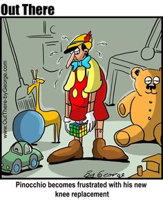 Pinocchio becomes frustrated with his new knee replacement