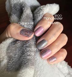 London Fog,capital Hill, and Manchester Mauve. I love colorstreet nails Mauve Nails, Pink Manicure, Pink Nails, My Nails, Glitter Nails, Grey Nail Polish, Nail Polish Strips, Pretty Nail Colors, Pretty Nails