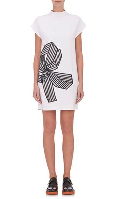 Embroidered-Bow Shift Dress