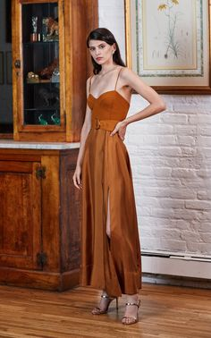 AMUR tempest belted crepe paneled silk dress