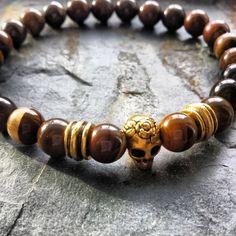 1 Bracelet8mm size beadsGold Skulls