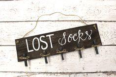 Rustic Lost Socks Sign  Rustic Signs by ThePaperWalrus on Etsy