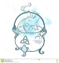 Image result for line drawing cauldron