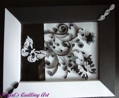 Framed Quilled White/Black Butterflies with Black Twirls - by:  Sergal's quilling art