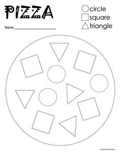 A pre-writing pizza themed worksheet that covers the shapes circle, square and triangle. Children can be asked to color certain shapes certa. Preschool Curriculum, Kindergarten Math, Learning Activities, Preschool Activities, Homeschooling, Pizza Shapes, Teaching Shapes, Shapes Worksheets, Shape Crafts