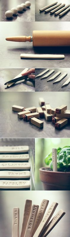 "DIY Clay Plant Name Marker Posts | Whit & Whistle | Love. This would be a great way of labeling a small windowsill herb ""garden."""