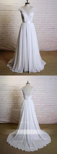 Elegant A-line Floor-length V-neck Cap sleeve lace top simple Wedding Dresses, - Braut Lace Wedding Dress With Sleeves, Wedding Dress Chiffon, Perfect Wedding Dress, Cap Sleeved Wedding Dress, Chiffon Dresses, Lace Chiffon, Elegant Wedding Gowns, White Wedding Dresses, Bridesmaid Dresses
