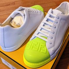 Lowrise Fendi sneakers with colored Forever Fendi toe, lace-up vamp and finished in a leather construction. Size: US 11 (UK (U. Men's Shoes, Shoes Sneakers, Mens Trainers, Leather Sneakers, Fendi, Uk 11, Lace Up, Louis Vuitton, Pairs