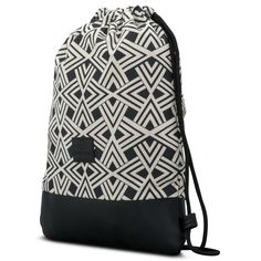 e3aecbf2e19e8 Gymsack black and white  Stylish pattern design with vegan leather