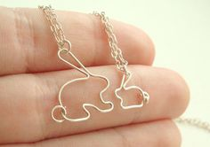 Mother daughter bunny rabbit necklace set