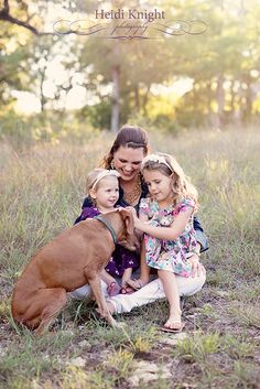The girls with their Vizsla, Emma.   Heidi Knight Photography