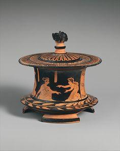 Terracotta pyxis (box) | Greek, Attic | Classical | The Met