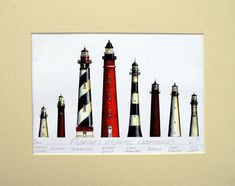 """Lighthouses of Florida Art Signed Robert Kline Matted 11""""x14"""" Print Amelia Island St. Augustine Cape Canaveral Key West Nautical Home Decor"""