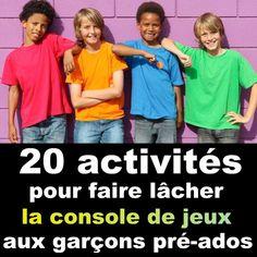 voici quelques idées d'activités simples et amusantes à proposer aux garçons pré-ados (9-12 ans)