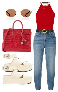 """""""Untitled #1007"""" by veronice-lopez on Polyvore featuring Alexander Wang, Yves Saint Laurent, Oliver Peoples, Eddie Borgo, Bartoli and Gucci"""