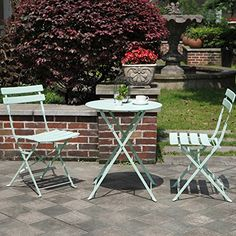 Grand Patio Premium Steel Patio Bistro Set, Folding Outdoor Patio Furniture Sets, 3 Piece Patio Set of Foldable Patio Table and Chairs, Macaron Blue Patio Furniture Covers, Garden Furniture, Outdoor Furniture Sets, Folding Furniture, Garden Table And Chairs, Patio Table, Backyard Patio, Rustic Outdoor Sofas, Outdoor Decor