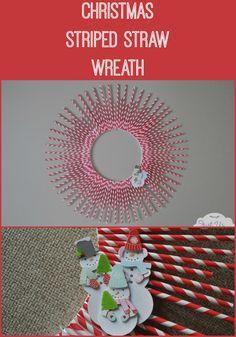 Turn striped straws into a super cute Christmas wreath!