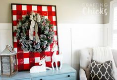 Instead of painting stripes on the wooden plank display I went bold with a red buffalo plaid. Buffalo check is popular and adds a fun festive flair.