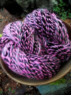 Handspun yarn, Handpainted 2 ply Rambouillet Merino wool yarn, only three available-PUNK ROCK GIRL