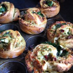 Savoury Brioche with pesto, sun dried tomato, feta and baby spinach. So delicious! (Little and Friday recipe). Spinach Muffins, Savory Muffins, Brioche Recipe, Artisan Bread Recipes, Best Party Food, Savoury Baking, Healthy Eating For Kids, Cafe Food, Baby Spinach
